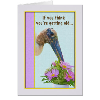 Getting Older Birthday Card with Stork and Flowers