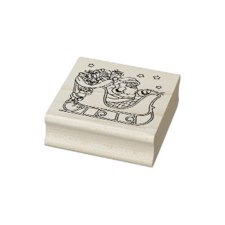 Getting Santa Ready Christmas Rubber Stamp