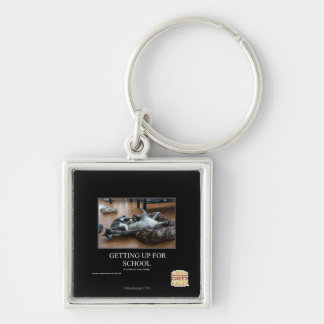 Getting Up For School Silver-Colored Square Key Ring