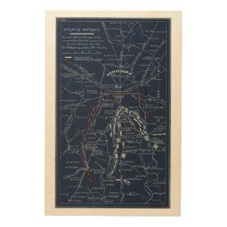 Gettysburg Battlefield Civil War Map (1863) Wood Canvases