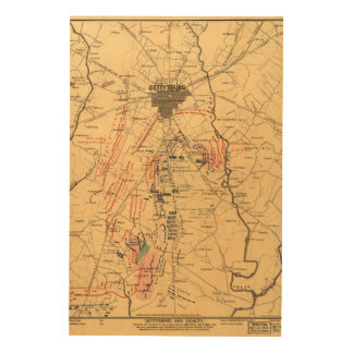 Gettysburg & Vicinity Troop Positions July 3 1863 Wood Wall Art
