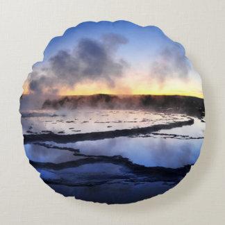 Geyser Smoke at Sunset Round Cushion