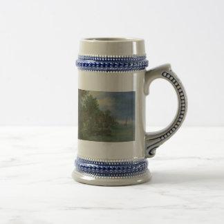 Gezicht op een dorp aan een rivier coffee mugs