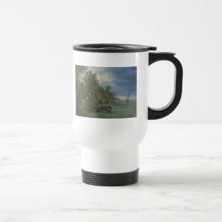 Gezicht op een dorp aan een rivier stainless steel travel mug