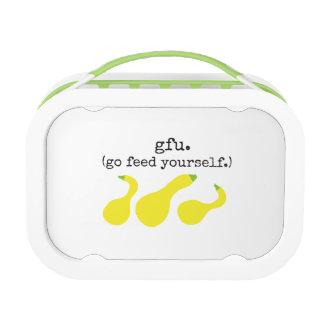 gfu./ go feed yourself. (squash) lunch box