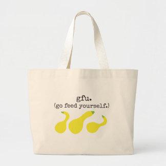 gfu./ (go feed yourself.) squash jumbo tote bag