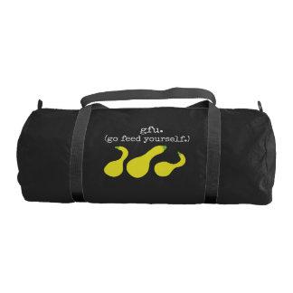 gfu./go feed yourself. (squash) <white text> gym duffel bag
