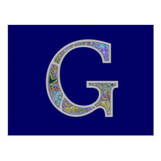 Gg Illuminated Monogram Postcard