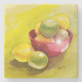 GGs Lemon and Limes Stone Beverage Coaster