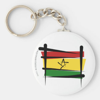 Ghana Brush Flag Basic Round Button Key Ring
