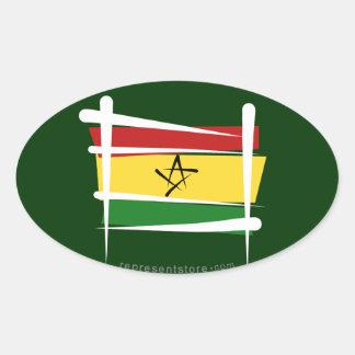 Ghana Brush Flag Oval Sticker