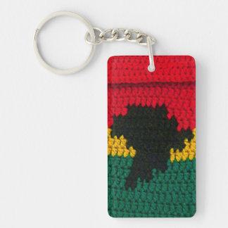 Ghana Colors Africa Map Crochet Printed Rectangle Key Ring