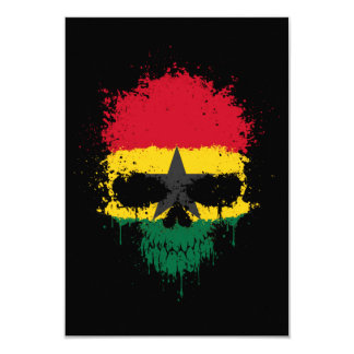 Ghana Dripping Splatter Skull Personalized Announcements