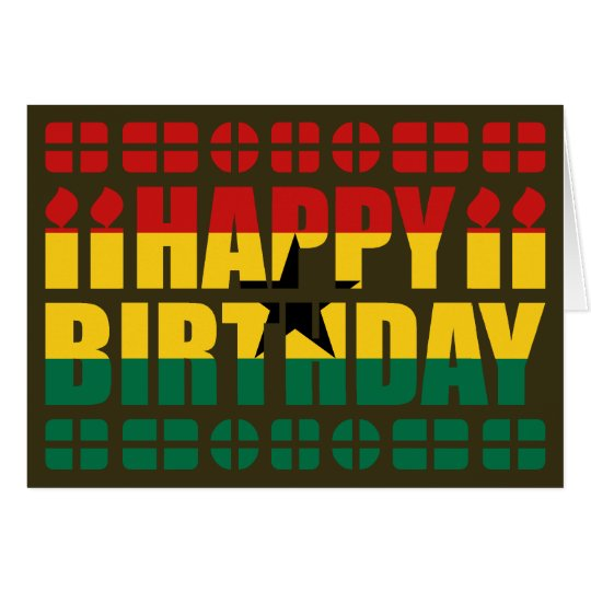 Ghana Flag Birthday Card