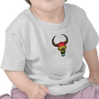 Ghana Flag Bull Skull T Shirts