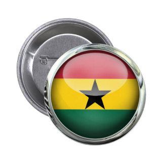 Ghana Flag Glass Ball Pinback Button