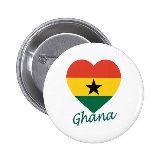 Ghana Flag Heart Pinback Button