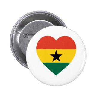 Ghana Flag Heart Button