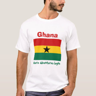 Ghana Flag + Map + Text T-Shirt