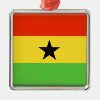Ghana Flag Silver-Colored Square Decoration