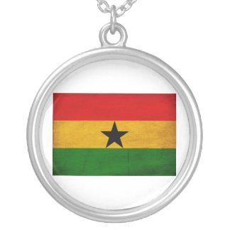 Ghana Flag Silver Plated Necklace