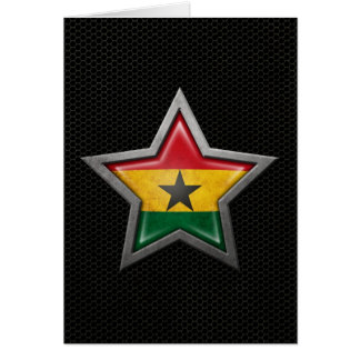 Ghana Flag Star with Steel Mesh Effect Card