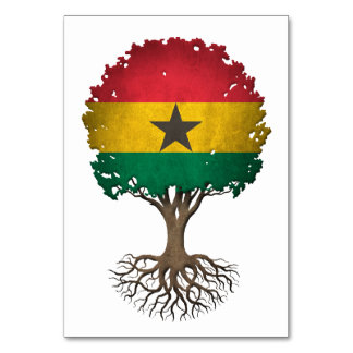 Ghana Flag Tree of Life Customizable Table Cards