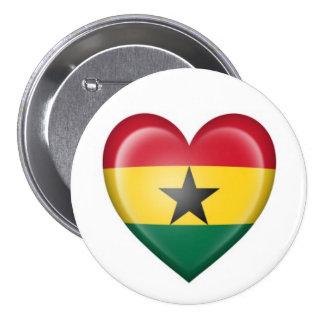 Ghana Heart Flag on White Button