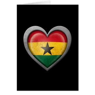 Ghana Heart Flag with Metal Effect Card