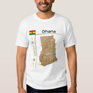 Ghana Map + Flag + Title T-Shirt