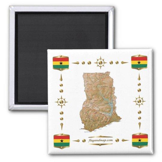 Ghana Map + Flags Magnet