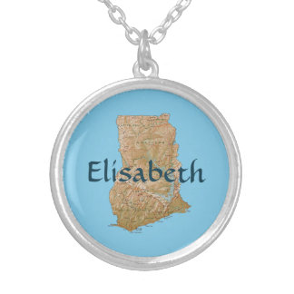 Ghana Map + Name Necklace