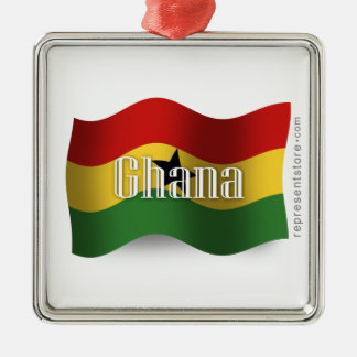 Ghana Waving Flag Christmas Ornament