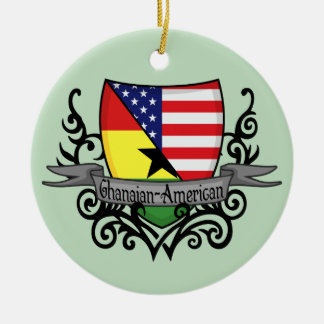 Ghanaian-American Shield Flag Christmas Ornament