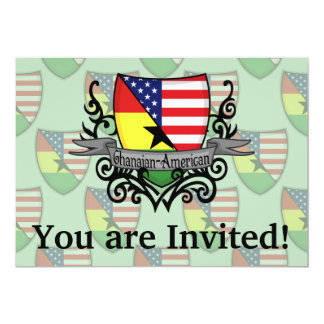 Ghanaian-American Shield Flag Personalized Invitation