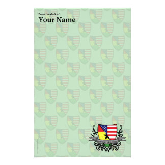 Ghanaian-American Shield Flag Stationery Design