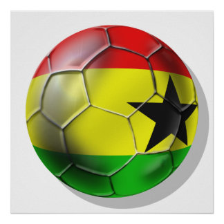 Ghanaian flag of Ghana Soccer ball for fans Posters