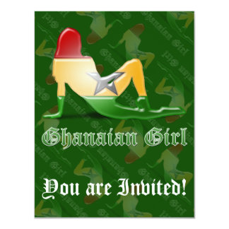 Ghanaian Girl Silhouette Flag 11 Cm X 14 Cm Invitation Card