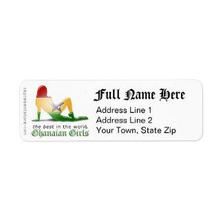 Ghanaian Girl Silhouette Flag Return Address Label