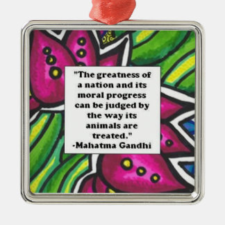 Ghandi animal quote christmas ornament