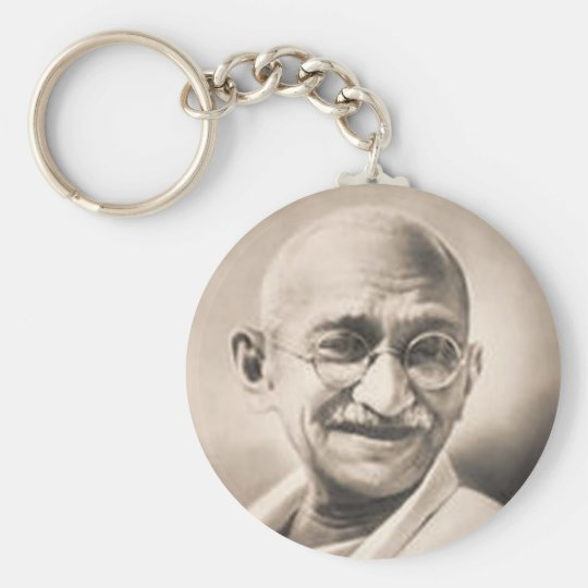 Ghandi Basic Round Button Key Ring