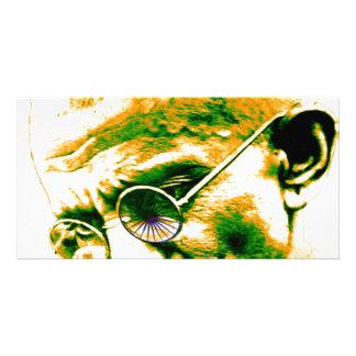 Ghandi in orange, green and white photo card template