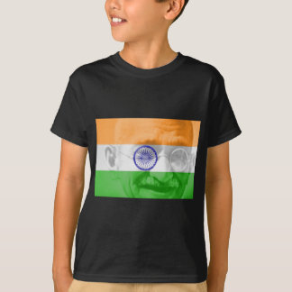 Ghandi on Indian Flag T-Shirt