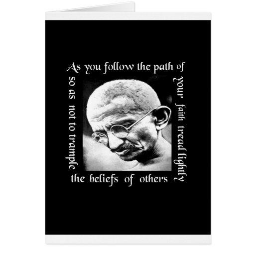 ghandi tread lightly greeting card