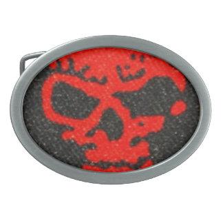 Ghastly Red Skulls on Black Belt Buckles