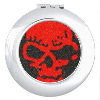 Ghastly Red Skulls on Black Vanity Mirrors