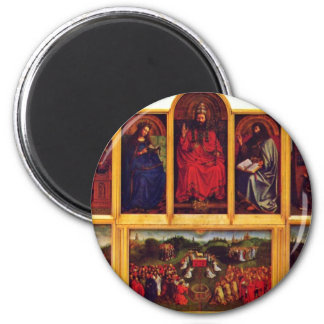 Ghent Altar Altar Of The Mystic Lamb Scene View Of 6 Cm Round Magnet