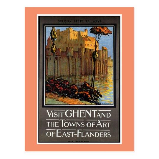 Ghent, Belgium, Vintage Travel Poster Postcard
