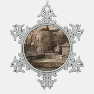 Ghent Gate, Bruges, Belgium Pewter Snowflake Decoration
