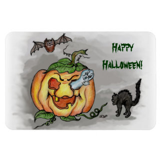 ghost,bat and cat, Happy Halloween! Flexible Magnets